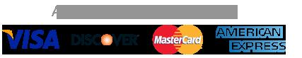 Credit card logos: Visa, MasterCard, Discover, American Express